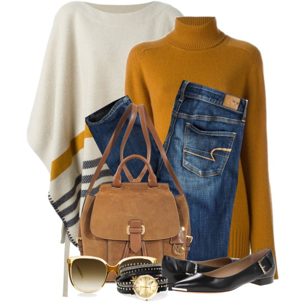 Poncho Outfit Ideas For Women Over 40