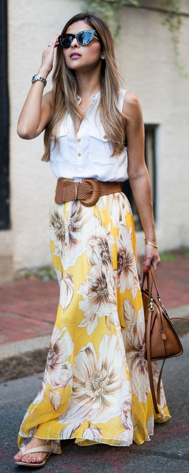 5f415db0122 How To Wear Maxi Skirts Street Style Ideas 2019